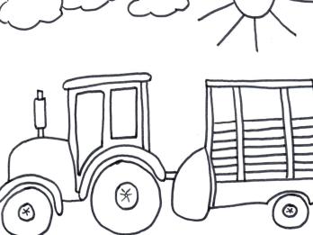 Bild 16 mit Text - Traktor mit Ladewagen