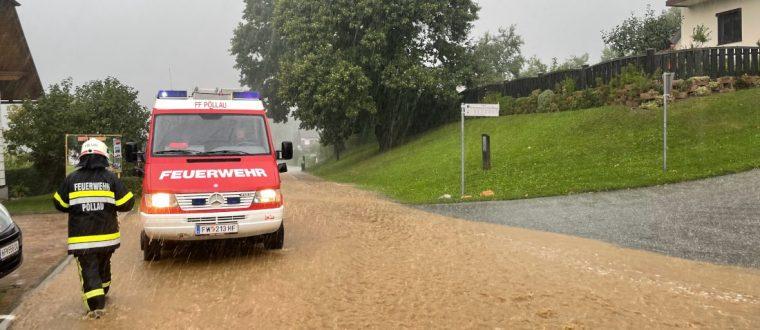 Neun Unwetter-Einsätze in Pöllau