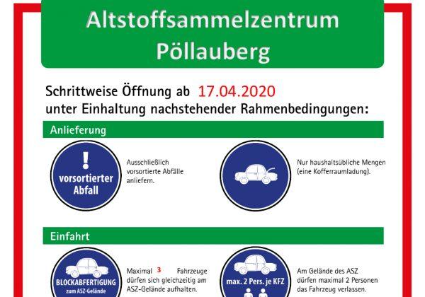 Öffnungszeiten ASZ Pöllauberg